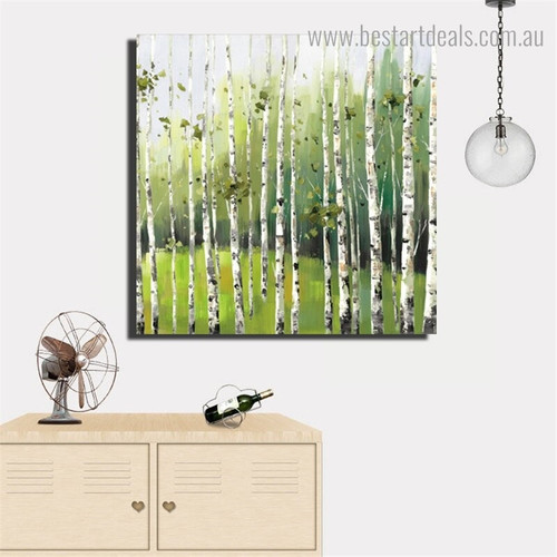 Forest of Birch Landscape Nature Framed Smudge Picture Canvas Print for Room Wall Flourish