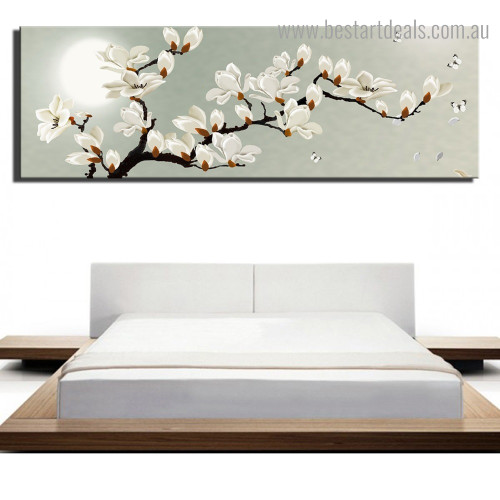 Magnolia Flowers Botanical Nature Framed Smudge Image Canvas Print for Room Wall Flourish