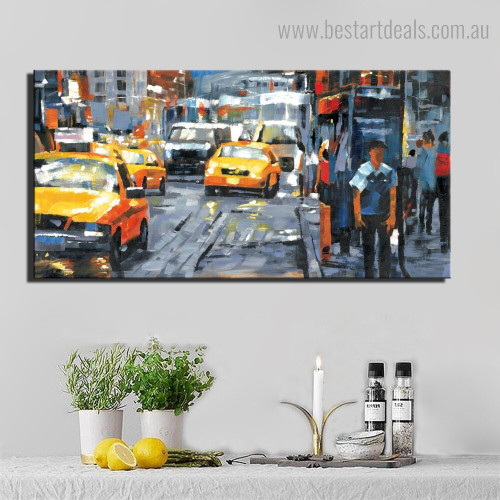 Cars Abstract City Modern Framed Smudge Portrait Canvas Print for Room Wall Finery