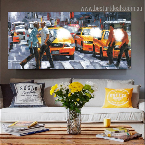 Road Cross Line Abstract City Modern Framed Smudge Portrait Canvas Print for Room Wall Outfit