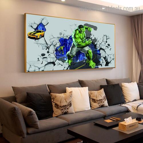 Hulk Kids Modern Framed Smudge Portrait Canvas Print for Room Wall Garniture