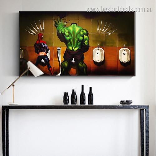 Spider-man Hulk Kids Modern Framed Smudge Image Canvas Print for Room Wall Ornament