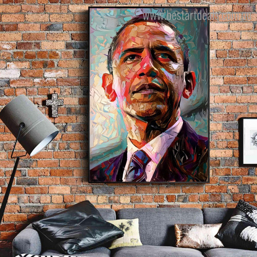 Obama Abstract Modern Framed Artwork Image Canvas Print for Room Wall Adornment