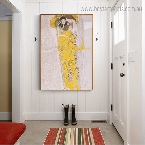The Beethoven Frieze Gustav Klimt Reproduction Framed Painting Picture Canvas Print for Room Wall Adornment
