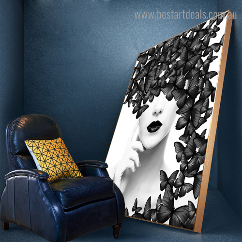 Black Butterflies Figure Nordic Modern Framed Painting Picture Canvas Print for Room Wall Decor