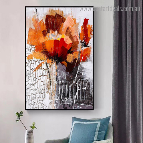 Polychromatic Bloom Abstract Botanical Framed Painting Image Canvas Print for Room Wall Onlay