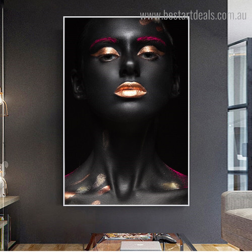 Shiny Makeup Figure Modern Framed Painting Portrait Canvas Print for Room Wall Ornament