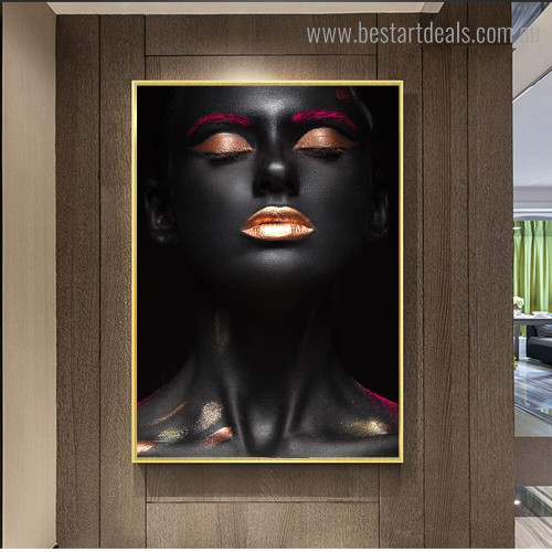 Sexy African Lady Figure Modern Framed Artwork Image Canvas Print for Room Wall Decor