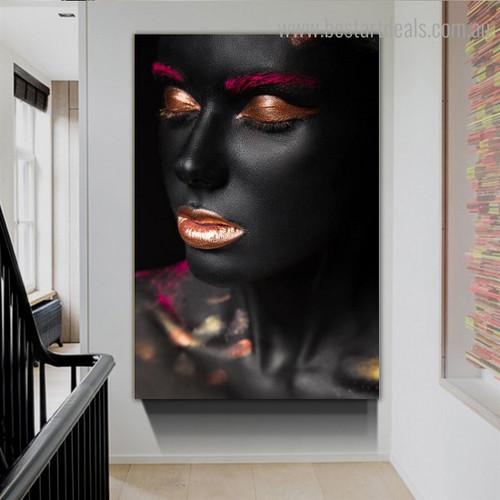 Black Dames Figure Modern Framed Artwork Image Canvas Print for Room Wall Adornment