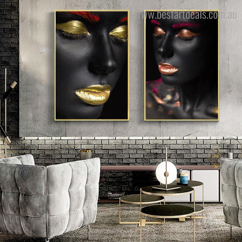 Black Colleens Figure Modern Framed Artwork Image Canvas Print for Room Wall Adornment