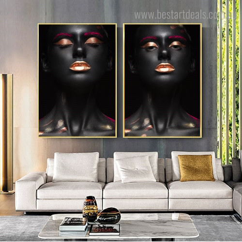 African Females Figure Modern Framed Artwork Image Canvas Print for Room Wall Garnish