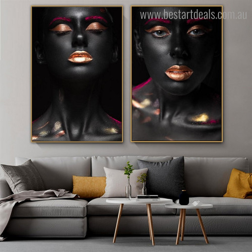 African Lass Figure Modern Framed Painting Picture Canvas Print for Room Wall Disposition