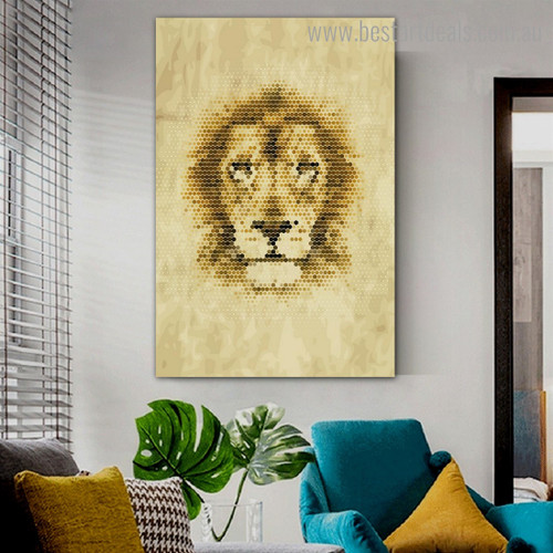 Lion Honeycomb Animal Abstract Framed Artwork Picture Canvas Print for Room Wall Assortment
