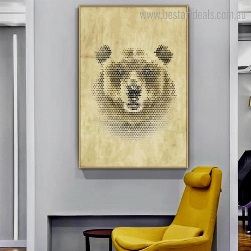 Bear Honeycomb Animal Abstract Framed Artwork Portrait Canvas Print for Room Wall Decor