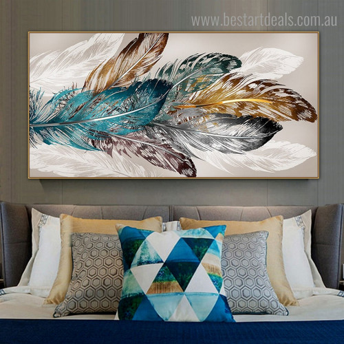 Chromatic Plumes Abstract Modern Framed Smudge Image Canvas Print for Room Wall Drape