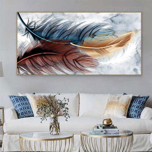 Varicolored Plumes Abstract Modern Framed Smudge Portrait Canvas Print for Room Wall Onlay