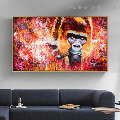 Cigar Smoking Gorilla Abstract Animal Modern Framed Smudge Portrait Canvas Print for Room Wall Decoration
