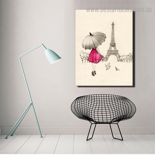 Paris Lady Abstract City Framed Painting Picture Canvas Print for Room Wall Decoration