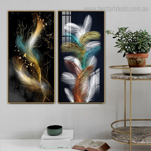 Colourful Wings Abstract Modern Framed Smudge Portrait Canvas Print for Room Wall Tracery
