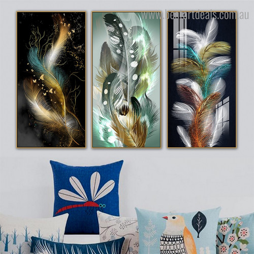 Shot Feathers Abstract Modern Framed Smudge Image Canvas Print for Room Wall Drape