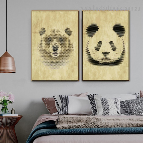 Bear Panda Animal Modern Framed Effigy Image Canvas Print for Room Wall Ornament