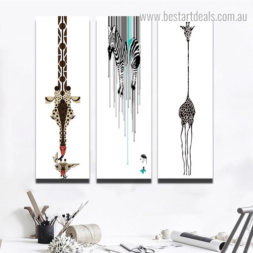 Giraffe Zebra Abstract Animal Nordic Framed Painting Picture Canvas Print for Room Wall Garniture