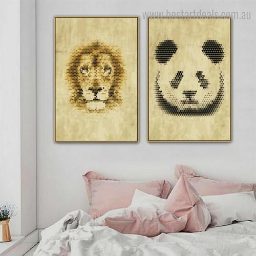 Lion Panda Animal Modern Framed Effigy Portrait Canvas Print for Room Wall Garniture