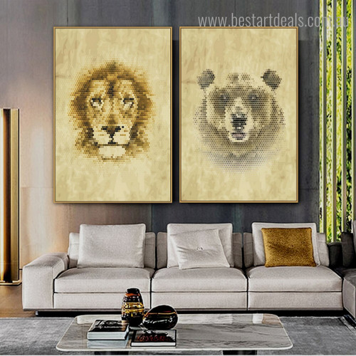 Bear Lion Animal Modern Framed Effigy Portrait Canvas Print for Room Wall Finery