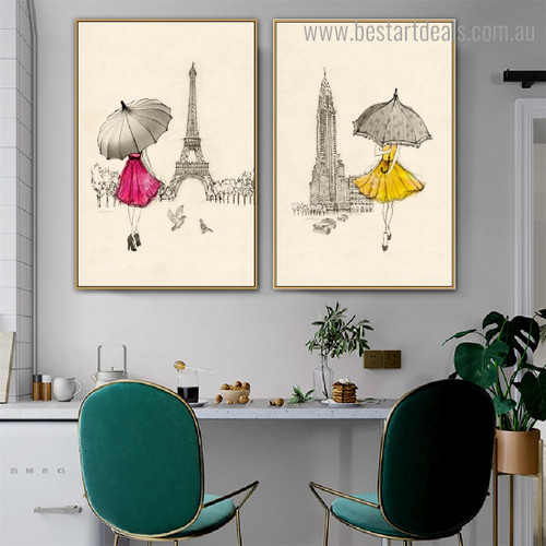 Girl Holding Parasols Abstract City Framed Painting Pic Canvas Print for Room Wall Onlay