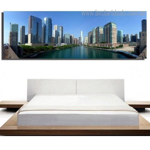 Chicago City Modern Framed Painting Picture Canvas Print for Room Wall Decor