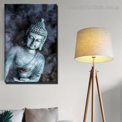 Smoke Vape Buddha Religious Modern Framed Artwork Image Canvas Print for Room Wall Decor
