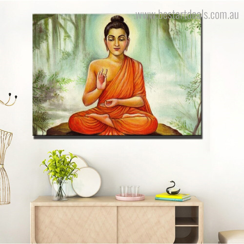 Inspiring Buddha Religious Modern Framed Painting Portrait Canvas Print for Room Wall Moulding