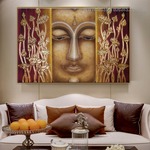 Floral Buddha Abstract Religious Modern Framed Painting Image Canvas Print for Room Wall Getup