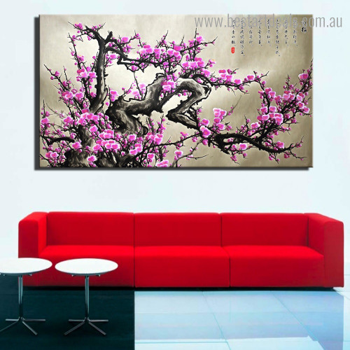Chinese Plum Blossom Floral Modern Framed Painting Image Canvas Print For Room Wall Getup
