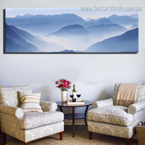Misty Mountains Landscape Nature Modern Framed Artwork Picture Canvas Print for Room Wall Assortment