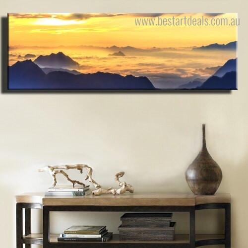 Dusk Ridge Landscape Nature Modern Framed Artwork Picture Canvas Print for Room Wall Decor