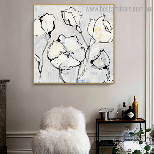 White Blossoms Abstract Floral Watercolor Framed Painting Picture Canvas Print for Room Wall Disposition