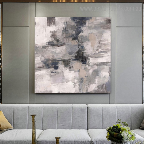 Black and White Abstract Modern Framed Smudge Image Canvas Print for Room Wall Drape