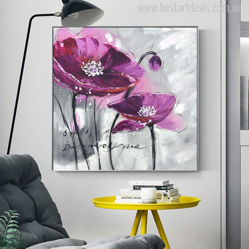 Purple Poppy Flower Watercolor Painting Print