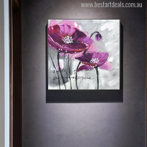 Purple Poppy Flower Watercolor Painting Canvas Print