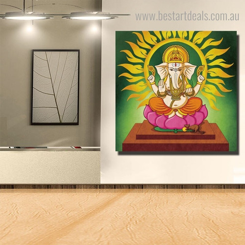 God Gajavaktra Religious Modern Framed Painting Portrait Canvas Print for Room Wall Drape