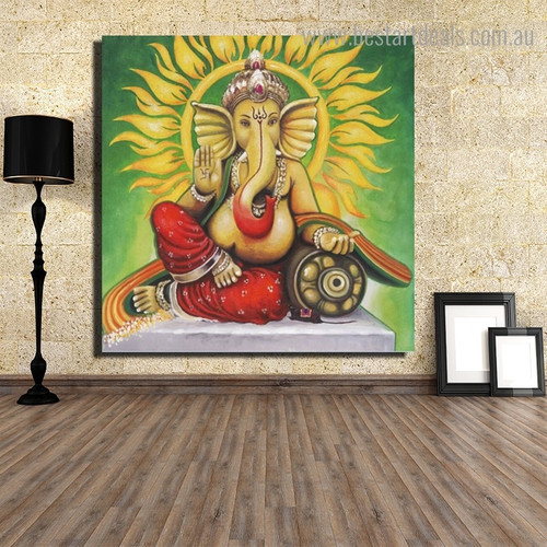 Lord Gajanana Religious Modern Framed Painting Picture Canvas Print for Room Wall Decor