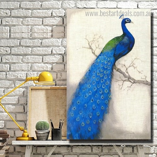 Blue Peacock Bird Modern Framed Artwork Portrait Canvas Print for Room Wall Onlay