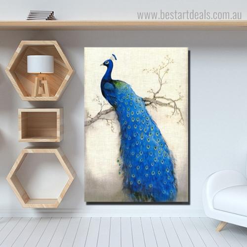 Blue Peafowl Bird Modern Framed Artwork Portrait Canvas Print for Room Wall Decoration