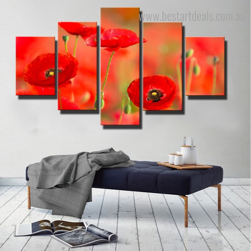 Poppy Gussets Floral Modern Framed Painting Image Canvas Print for Room Wall Adornment