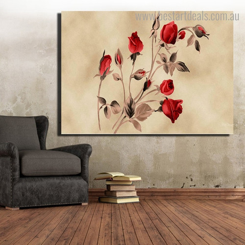 Red Roses Floral Framed Painting Picture Canvas Print for Room Wall Ornament