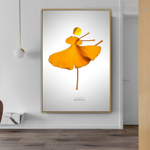 Ginkgo Leafage Abstract Botanical Nordic Framed Artwork Image Canvas Print for Room Wall Outfit