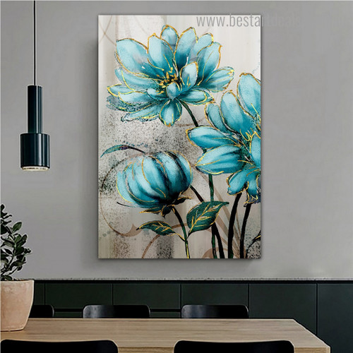 Big Blooms Abstract Botanical Nordic Framed Smudge Picture Canvas Print for Room Wall Decor