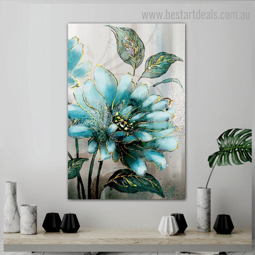 Turquoise Floweret Abstract Botanical Nordic Framed Smudge Portrait Canvas Print for Room Wall Garniture