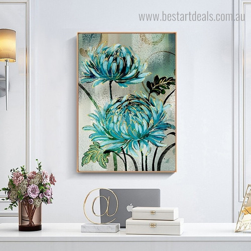 Turquoise Chrysanthemum Abstract Botanical Nordic Framed Effigy Portrait Canvas Print for Room Wall Getup